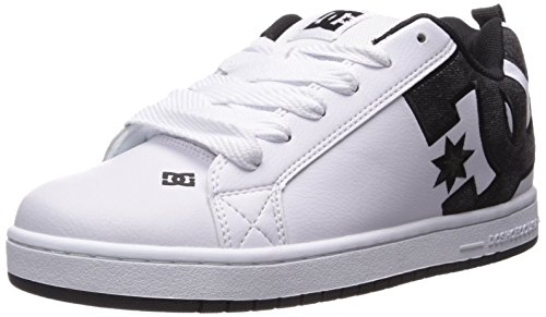 DC Men's Court Graffik SE Skate Shoe, White/Grey/Black, 13 M US