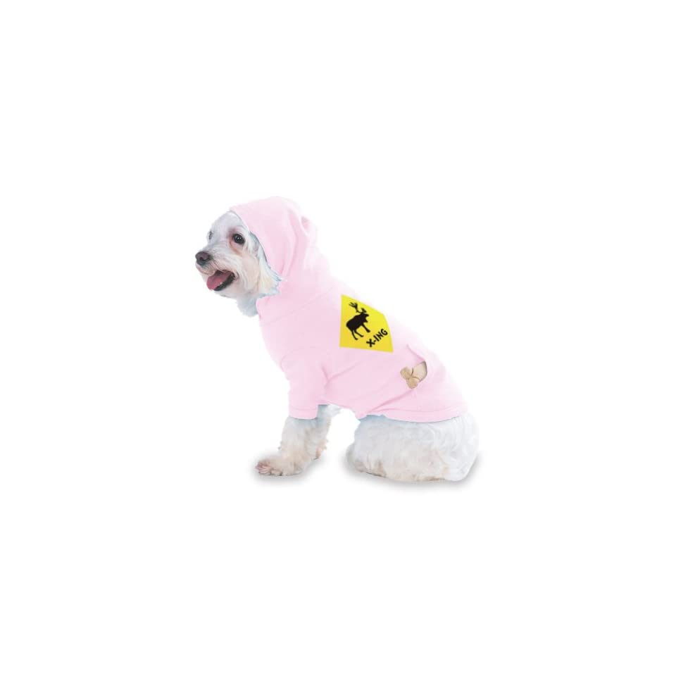 ELK MOOSE CROSSING Hooded (Hoody) T Shirt with pocket for your Dog or Cat Size XS Lt Pink