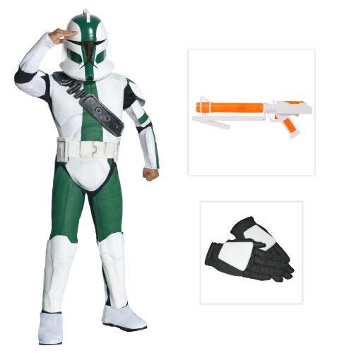 Star Wars Trooper Commander Gree Child Costume, Gloves and Blaster - S