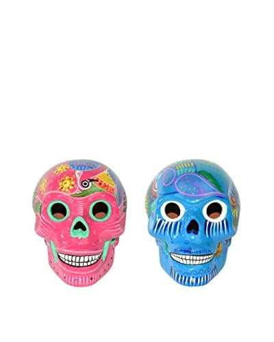 Uptown Down Set of 2 Hand-Painted Ceramic Sugar Skulls, Pink/Blue As You See