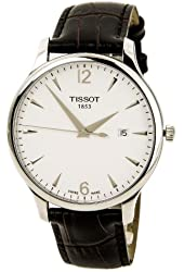 Tissot White Dial Stainless Steel Leather Quartz Men's Watch T0636101603700