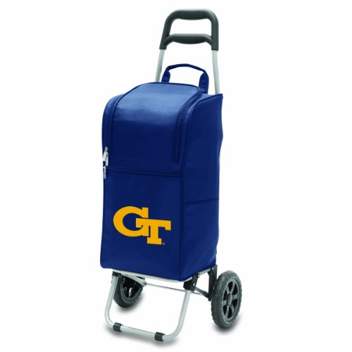 NCAA Georgia Tech Yellow Jackets Insulated Cart Cooler with Wheeled Trolley, Navy (Picnic Time Rolling Cooler compare prices)