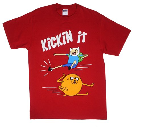 Kickin It - Adventure Time T-Shirt: Adult Small - Red