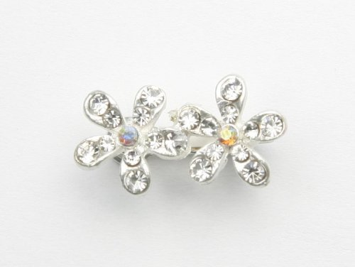Baby's Breath Crystal Flowers - Baby Girl & Toddler Hair Clip - Silver