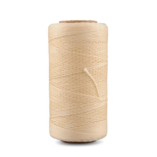 Best Buy! Flexzion Flat Waxed Thread (Beige) – 284Yard 1mm 150D Wax String Cord Sewing Craft Tool Portable for DIY Handicraft Leather Products Beading Hand Stitching
