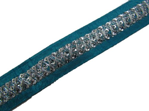 1 Y Thin Blue Ribbon Trim Silver Sequin Sewing Ribbon Lace Craft New