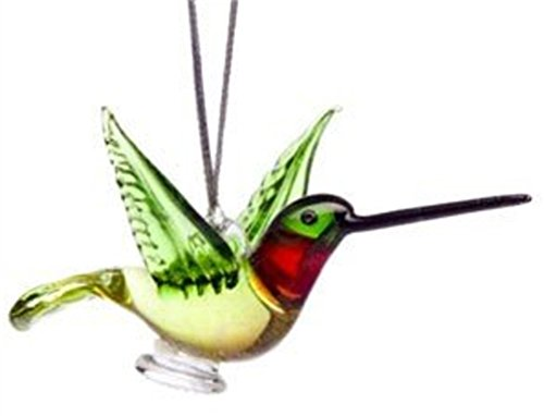 Glass Ruby Throated Hummingbird Christmas Ornament