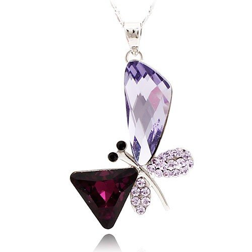 Stylized Butterfly Wing Drop Purple Swarovski Elements Crystal Pendant Necklace Platinum Plating Chain