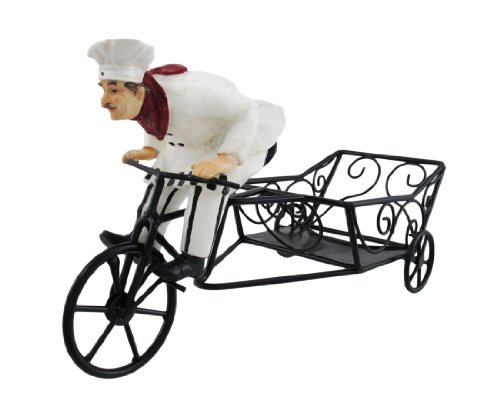 Bicycle Riding French Chef Wine Bottle Holder