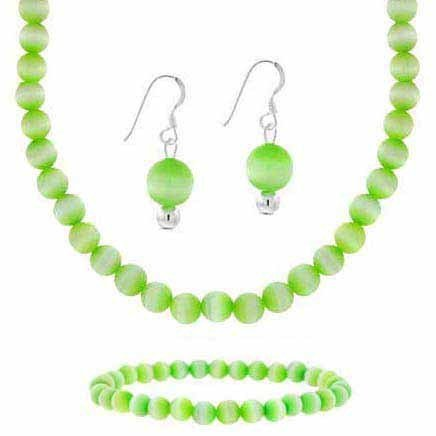 Sterling Silver 6mm Simulated Light Green Cats Eye Stone Bead Beaded Dangle Hook Earrings Stretch Bracelet Necklace 15-19