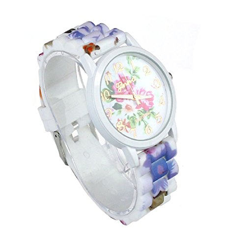 TPT Fashion Women Flower Printed Casual Quartz Silicone Watch Watches(Hot Pink)