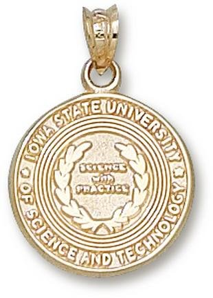 Iowa State Cyclones Seal Pendant - 14KT Gold Jewelry by Logo Art