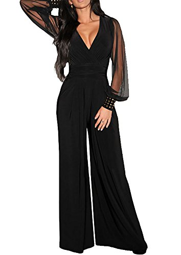 Sisiyer Women's Embellished Cuffs Long Mesh Sleeves Plunge V Neck Jumpsuit Black X-Large (Cocktail Pant Suits compare prices)