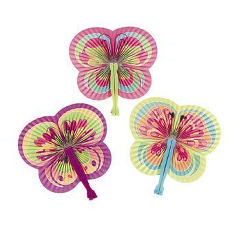 12 Butterfly Shaped Folding Fans (Butterfly Hand Fan compare prices)