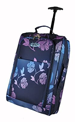 Frenzy®, Fading Flower Pattern, Lightweight Cabin Size Carry on Wheeled Trolley Luggage Holdall, fits 55x 40 x20cm ryan air/easy jet - Dimension 55x36x23cm, 42L capacity (Navy)