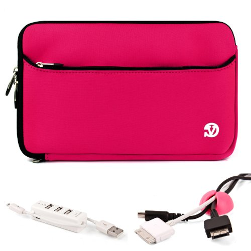 Protective Sleeve With Front Pocket For Asus Asuspro Business Advanced B53E 15.6-Inch Laptop+ Pink Cable Organizer+ White 3 Port Usb Hub With Micro Usb Charger