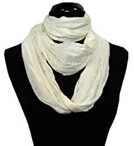 Soft Solid White Cotton Infinity Loop Scarf