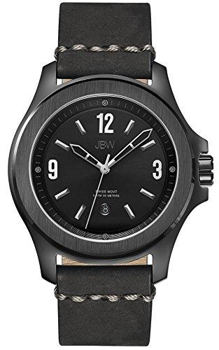 JBW  J6299A - Reloj de cuarzo para hombre, con correa de cuero, color negro
