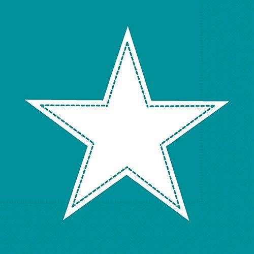 20 Servietten Simple Star petrol - Stern weiß auf türkis / Muster 33x33cm