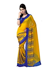 ANSS Elegant Designer Faux Georgette Saree With Floral Print - Blue&Yellow