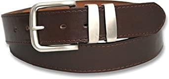 Mens Double Loop Leather Belt - Black - Brown (32-36, Brown)