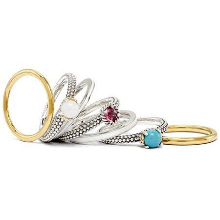 Stackable Expressions : Silver Glamour Ring Set Size L