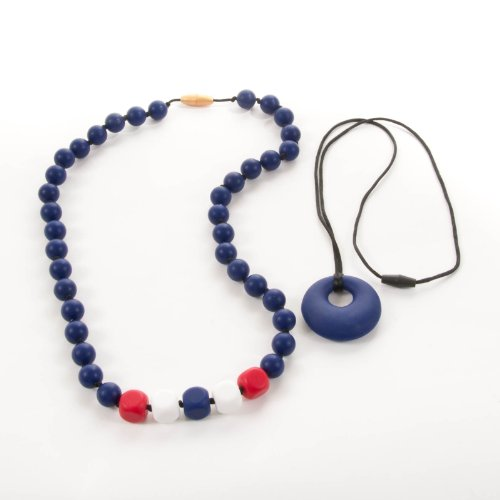 Sassy Baby Beads Mommy And Baby Silicone Chew Teething Beads Necklace - 2 Piece Set - Patriot