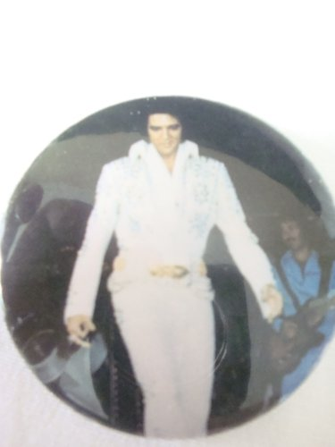 "Elvis in White Jumpsuit 2.25"" Round Button Pin Elvis Has Left The Building Button"