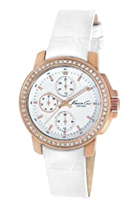 Kenneth Cole New York Women's KC2804 Dress Sport White Multi-Function Dial Stone White Strap Watch
