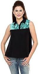 Rvestir Women's Poly Crepe Tunic Top (OM135_S, Black)