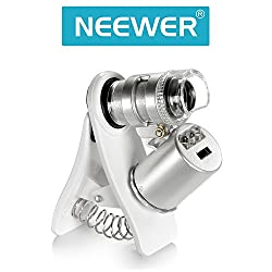Neewer 60X Zoom LED Clip-On Microscope Magnifier Micro Lens for Universal Mobile Phones /such as iphone Samsung HTC Blackberry Nokia Sony