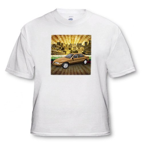 In The City textured graphic design features a car in urban city landscape - Adult T-Shirt 2XL