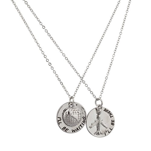 Lux Accessories I'll Be Waiting I'll Be There World Traveler Plane Airplane Pendant Necklace