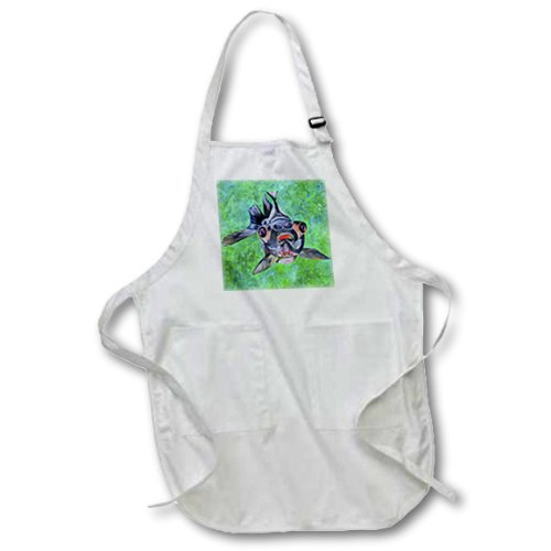 Apr_46714_2 Taiche - Acrylic Painting - Fish - Black Moor Goldfish - Black Moor Goldfish, Telescope Goldfish, Goldfish, Dragon Eye Goldfish - Aprons - Medium Length Apron With Pouch Pockets 22W X 24L