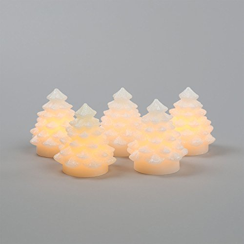 """Candle Impressions Set Of 5 Mini Cream Flameless Battery Operated Led 3"""" Wax Christmas Tree Votives"""