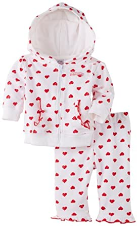 Calvin Klein Baby-girls Newborn Hooded Set, Red, 6-9 Months
