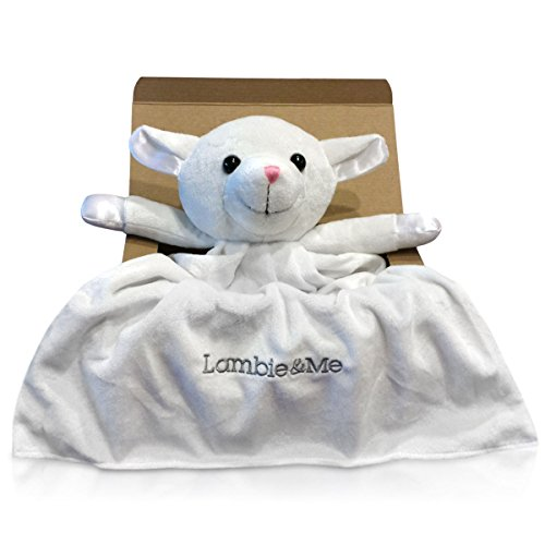 Lambie & Me Security Blanket in Gift Box | 100% Premium Soft Plush & Satin Toy | Lifetime Keepsake
