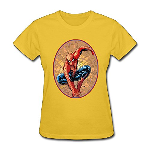 BOAIS Personalized The Avengers Spider-Man T-shirt For Womens Yellow