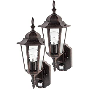 Outdoor Wall Sconce With Light Sensor : Globe One-Light Outdoor Upward Wall Sconce with Motion Sensor, Antique Bronze, 2 Pack #4997201 ...