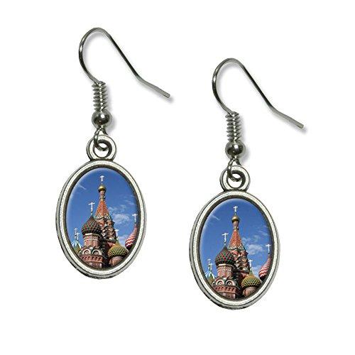 Kreml ST Basilius-Kathedrale Russland Rot Quadratisch Neuheit Dangling Drop oval Charm-Ohrringe