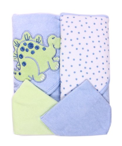 Spasilk Hooded Terry Bath Towel With Washcloths, Dino Blue, 2-Count