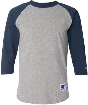 Champion Men's Tagless Baseball Raglan T-Shirt, oxf gry/navy, Small