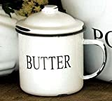 Enamelware Enamel Ware Butter Cup Mug with Lid White