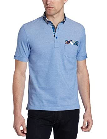 Fred Perry Men's Madras Collar Oxford Polo, Prince Blue, X-Small