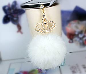 Universal 3.5mm Cell Phone Charms Pendant White Big Plush Ball and Crown Anti Dust Earphone Jack Plug Stopper for iPhone4/4s/5,iPod,iPad, HTC, Samsung S3 i9300/S4 i9500/N7100 etc