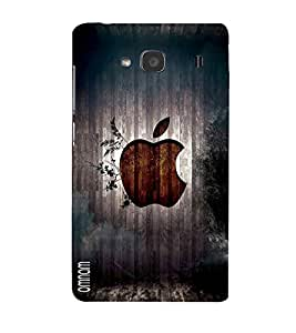 Omnam Apple Logo Printed On Woods Designer Back Cover Case For Xiomi Redmi Note 2