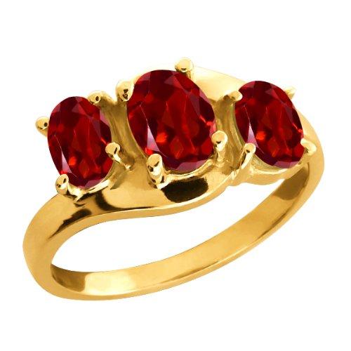 00 Ct Genuine Oval Red Garnet Gemstone 18k Yellow Gold Ring Jewelry