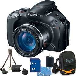 Canon Powershot SX40 HS 12.1MP Digital Camera with 35x Wide Angle Optical Image Stabilized Zoom and 2.7-inch Vari-Angle Wide LCD Premiere Bundle With 8 GB Secure Digital High Capacity (SDHC) Memory Card, Digpro Compact Camera Deluxe Carrying Case, Cleanin
