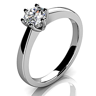 Brand New Six Claw Round Brilliant Cut Diamond Solitaire Engagement Ring,9k White Gold