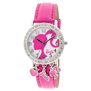 Barbie Girls BARAQ088 Analog Watch with Crystal Accents Cute Charms and Dark Pink Strap